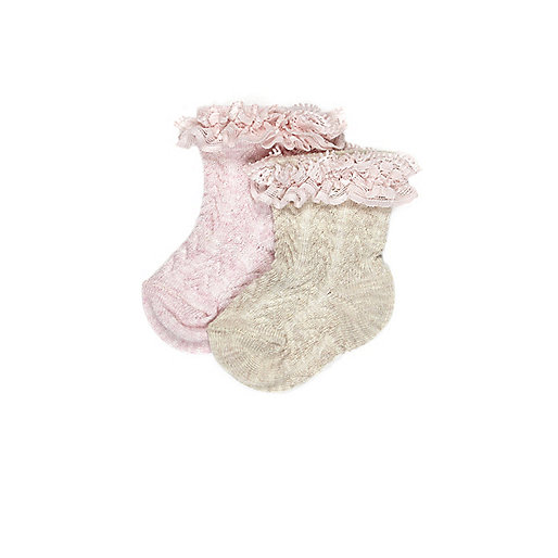 Mini girls pink frilly socks multipack