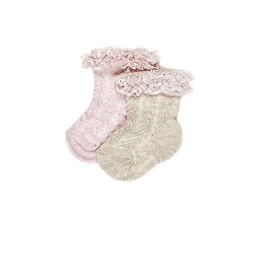 Lot de chaussettes roses à volants mini fille