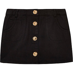 Mini girls black button down denim skirt