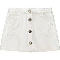Mini girls white button down denim skirt