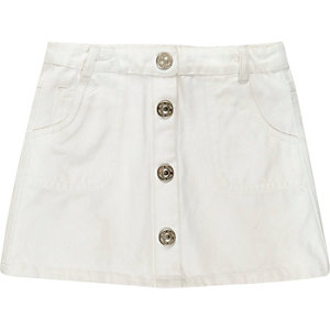 Mini girls white button down denim skirt