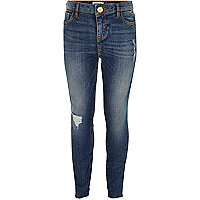 Girls mid blue wash Amelie skinny jeans