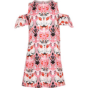 Girls pink printed cold shoulder dress