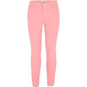 Girls pink Molly distressed jeggings