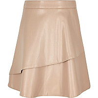 Girls beige double layer skirt