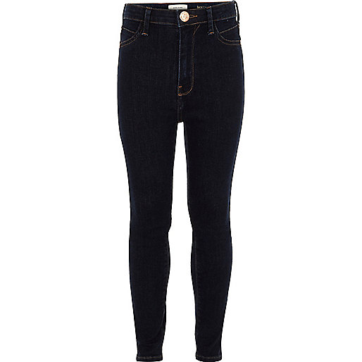 Girls dark blue Molly high waisted jeans