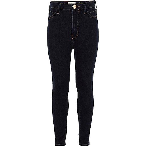 Girls dark blue Molly high waisted jeans