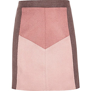 Girls pink faux suede A-line skirt