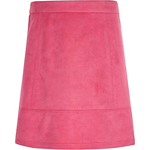 Girls pink faux suede skirt