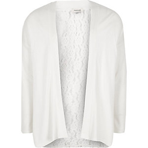 Girls cream lace back cardigan