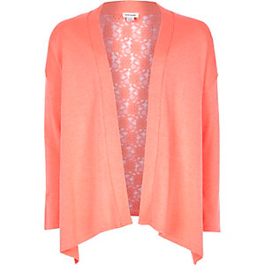 Girls coral lace back cardigan