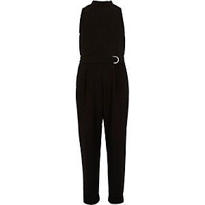 Girls black D-ring jumpsuit
