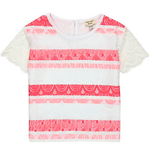 Mini girls white coral lace t-shirt