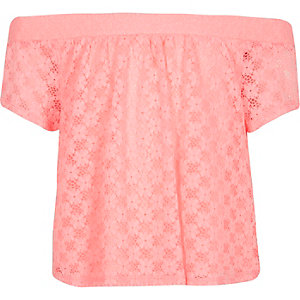 Girls pink lace bardot top