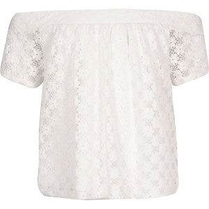 Girls cream lace bardot top