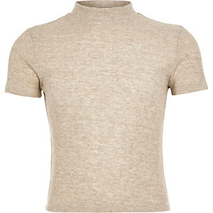 Girls beige ribbed turtle neck top