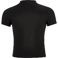 Girls black ribbed turtle neck top