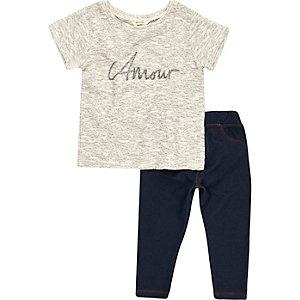 Ensemble mini fille legging et T-shirt «adore» bleu