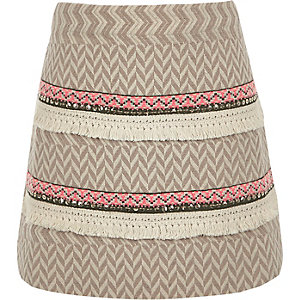 Girls beige A-line Aztec skirt