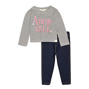 Mini girls stripe top denim leggings outfit