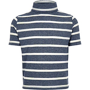 Girls blue stripe ribbed turtle neck top