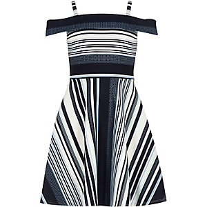 Girls blue stripe bardot dress