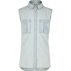 Girls light blue sleeveless denim shirt