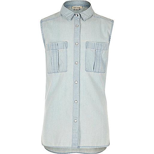 Girls light blue sleeveless denim shirt