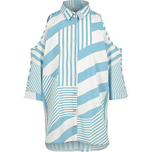 Girls blue stripe cold shoulder shirt