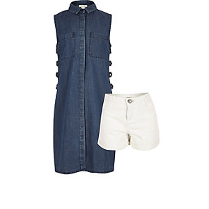 Girls dark blue longline top outfit