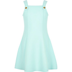 Girls light green pinafore dress