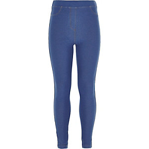 Blaue Leggings im Jeanslook