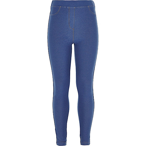 Girls blue denim look leggings