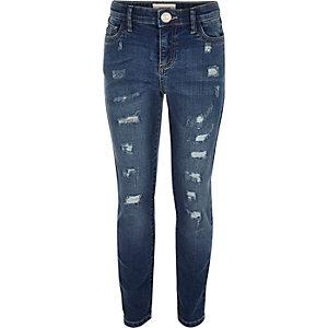 Skinny-Jeans im Used Look und mittelblauer Waschung