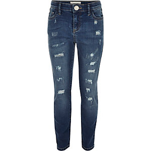 Girls mid blue wash ripped skinny jeans