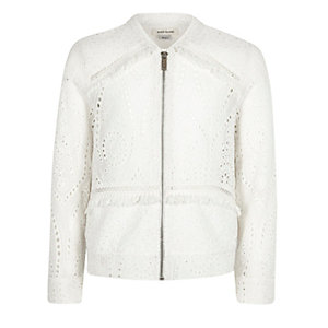 Girls white lace bomber jacket