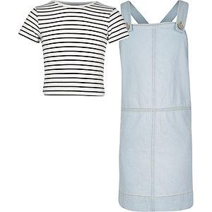 Girls light blue denim dress top outfit
