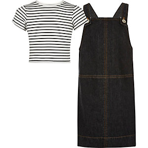 Girls black denim dress top outfit