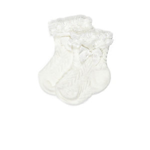 Mini girls cream frilly socks multipack