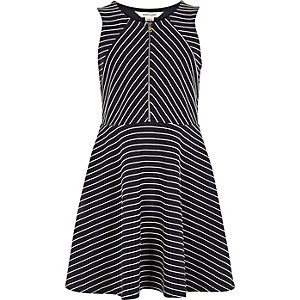 Girls navy stripe zip skater dress