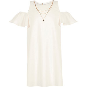 Girls cream cold shoulder dress
