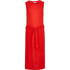 Girls red belted maxi tunic