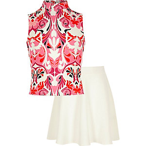 Girls print top skirt outfit