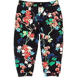 Mini girls black floral print joggers