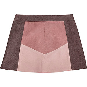 Mini girls pink colour block skirt