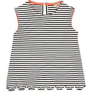 Mini girls black stripe eyelets top