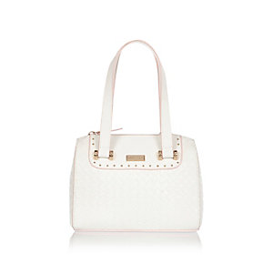 Girls white bowler bag