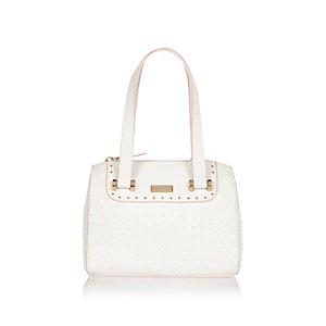 Girls white bowler bag