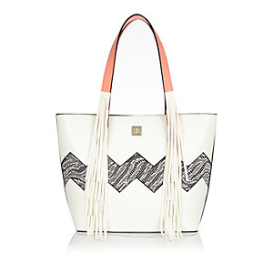 Girls white shopper handbag