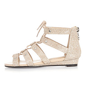Girls gold studded gladiator sandals